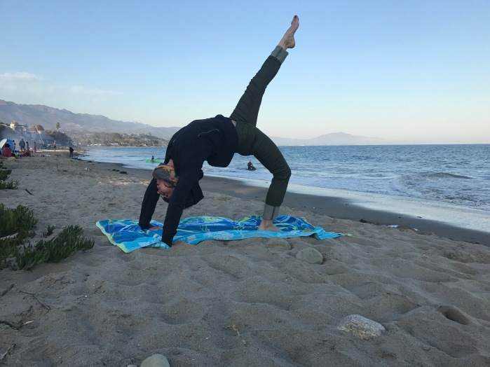 Carol doing yoga